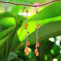 Carnelian dangle earrings, 'Fiery Romance'