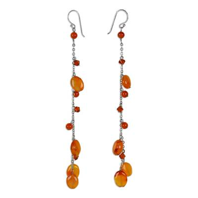 Carnelian dangle earrings, 'Fiery Romance' - Hand Made Carnelian Dangle Earrings
