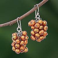 Pearl cluster earrings, 'Golden Grapes' - Handmade Pearl Earrings from Thailand