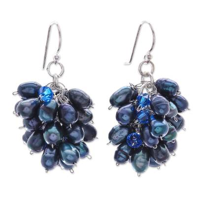 Pearl cluster earrings, 'Sweet Blue Grapes' - Pearl cluster earrings