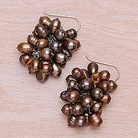Pearl cluster earrings, 'Ginger Grapes' - Pearl cluster earrings