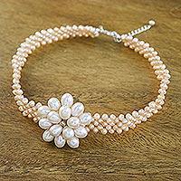 Pearl choker, 'Pink Romance'