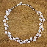 Pearl choker, 'Charming Rose' - Pearl Choker Necklace Handmade in Thailand