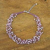 Pearl choker, 'Pink Web of Beauty'