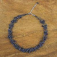 Pearl strand necklace, 'Purple Web of Beauty' - Stainless Steel Pearl Strand Choker