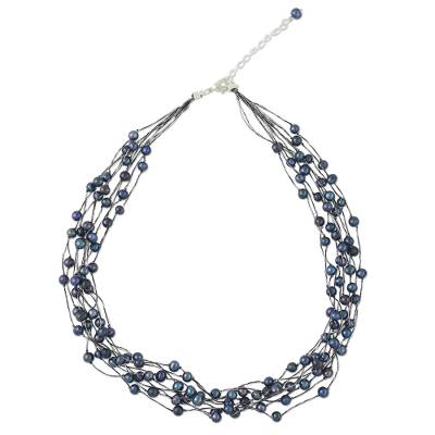 Pearl strand necklace, 'Purple Web of Beauty' - Artisan Crafted Pearl Strand Necklace