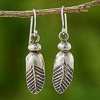 Silver dangle earrings, 'Spring Leaves' - Silver 950 dangle earrings