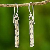 Silver dangle earrings, 'Life' - Hill Tribe 950 Silver Dangle Earrings