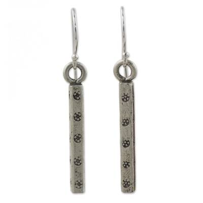 Silver dangle earrings, 'Life' - Hill Tribe 950 Silver Dangle Earrings