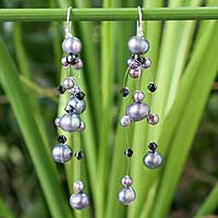 Pearl waterfall earrings, 'Charming in Black' - Pearl Waterfall Earrings