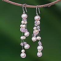 Pearl waterfall earrings, 'Charming in Lilac' - Pearl waterfall earrings