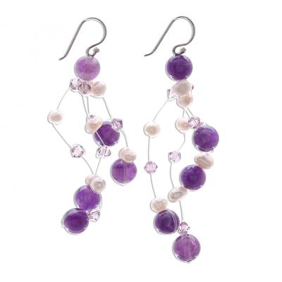 Pearl and amethyst waterfall earrings