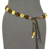Coconut shell belt, 'Golden Garden' - Coconut shell belt