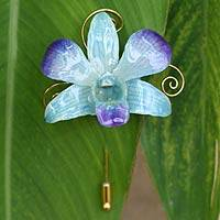 Natural orchid gold-plated stickpin, 'Forever Blue' - Natural Orchid Gold Plated Stick Pin