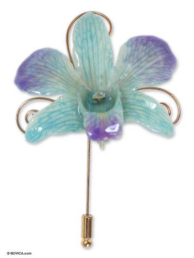 Natural Orchid Gold Plated Stick Pin