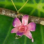 Natural orchid flower necklace, 'Charming'