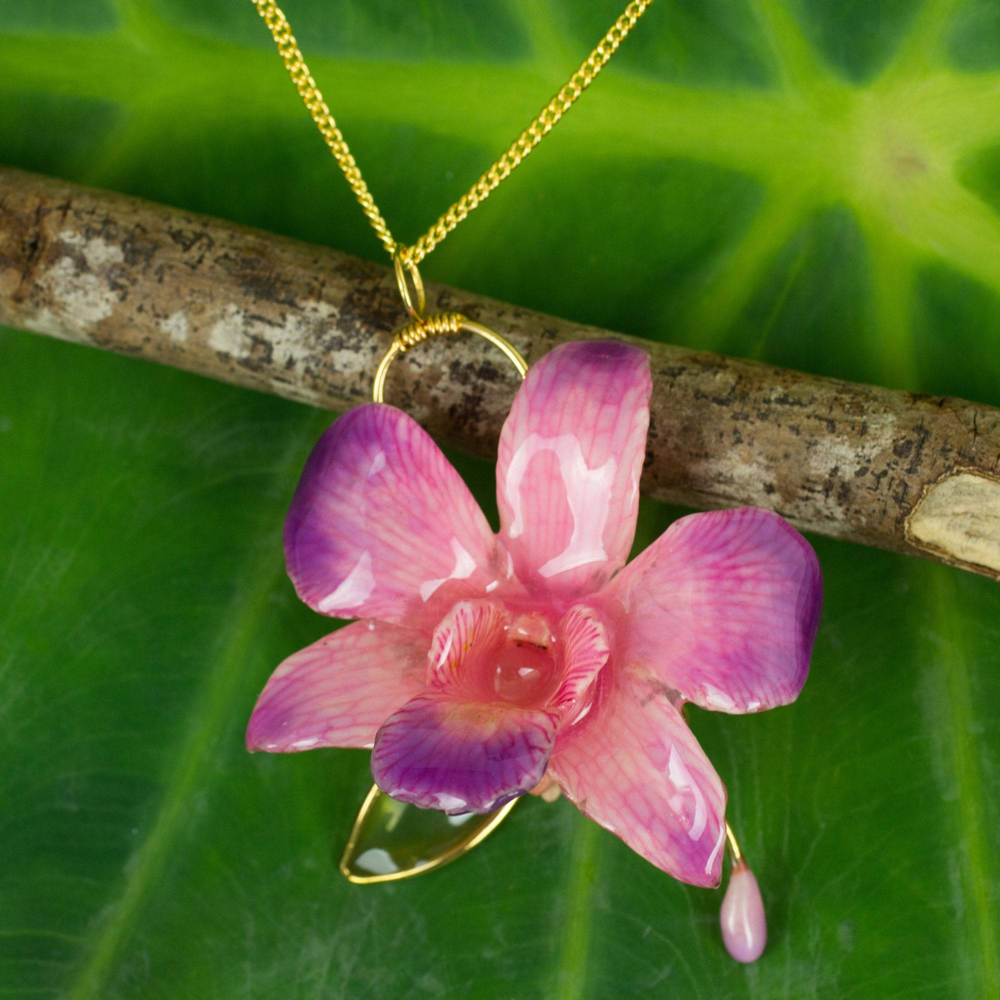 24k Gold Plated Real Orchid Flower Risis Of Singapore Lariat Slider Necklace 40 Inches Bolo