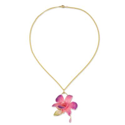 Natural orchid gold-plated flower necklace
