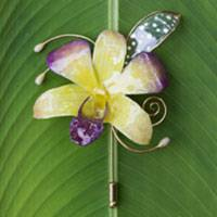 Natural orchid gold-plated stickpin, 'Gift of the Tropics' - Natural Flower Stick Pin