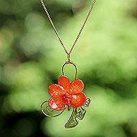 Natural orchid flower necklace, 'Tropicana' - Natural orchid flower necklace