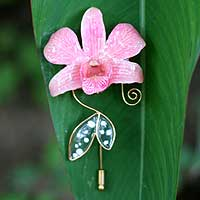 Natural orchid gold-plated stickpin, 'Perfectly Pink' - Gold Plated Natural Flower Brooch Pin