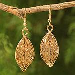 Artisan Crafted Gold Plated Leaf Earrings, 'Forest Duet'