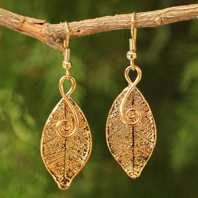 Natural leaf gold-plated earrings, 'Forest Duet' - Artisan Crafted Gold Plated Leaf Earrings