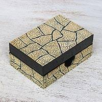 Eggshell mosaic box, 'Crackled Gold' - Eggshell Mosaic Card Box