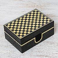 Lacquered wood box, 'Chess' - Handcrafted Lacquerware Mango Wood Decorative Box