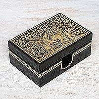 Lacquered wood box, 'Kings at War' - Lacquerware Mango Wood Decorative Box