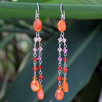Carnelian waterfall earrings, 'Shimmering Perfection' - Multigem Carnelian Waterfall Earrings