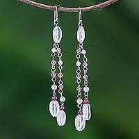 Rose quartz waterfall earrings, 'Shimmering Perfection' - Unique Beaded Rose Quartz Waterfall Earrings