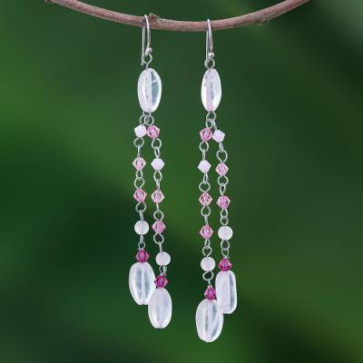 Rose quartz waterfall earrings, Shimmering Perfection