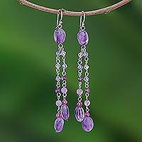 Amethyst waterfall earrings, 'Shimmering Perfection' - Artisan Crafted Amethyst Earrings