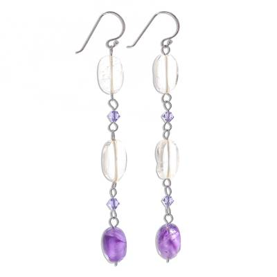 Citrine and Amethyst Dangle Earrings