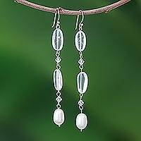 Pearl and quartz dangle earrings, 'Precious' - Pearl and Quartz Beaded Earrings