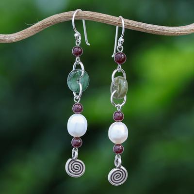 Jade and garnet drop earrings, 'Clouds of Pearl' - Handcrafted Jade and Pearl Dangle Earrings
