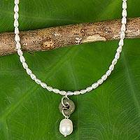 Pearl and jade pendant necklace, 'Lucky Cycle' - Handcrafted Pearl and Jade Necklace