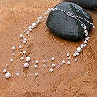 Pearl choker, 'Gossamer White' - Handcrafted Bridal Pearl Necklace
