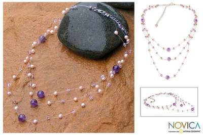 Pearl and amethyst choker, 'Gossamer Violet' - Artisan Crafted Pearl and Amethyst Necklace