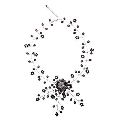 Pearl choker, 'Floral Fantasy' - Cultured Pearl and Glass Beaded Choker Necklace