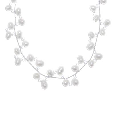 Pearl and crystal choker, 'Spiral' - Bridal Pearl Strand Necklace