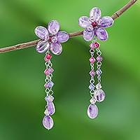 Amethyst dangle earrings, 'Blossom Bounty' - Artisan Crafted Amethyst Earrings