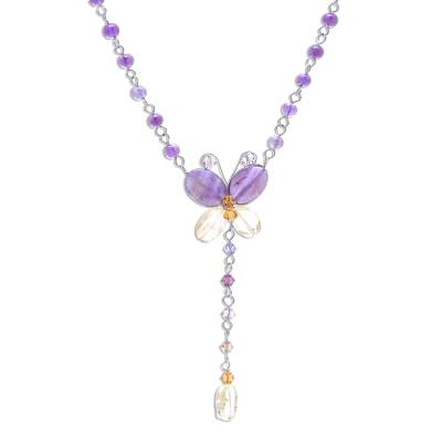 Beaded Amethyst and Citrine Necklace