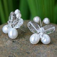 Pearl and quartz button earrings, 'Exotic Butterfly' - Beaded Pearl and Quartz Earrings