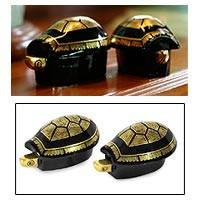 Lacquered wood jewelry boxes, 'Royal Turtles' (pair) - Handcrafted Lacquerware Wood Jewelry Boxes (Pair)