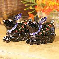Lacquered wood boxes, 'Carnation Bunnies' (pair) - Lacquered wood boxes (Pair)