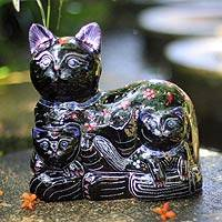 Lacquered wood sculpture, 'Feline Fun' - Lacquered wood sculpture