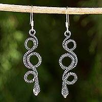 Sterling silver dangle earrings, 'Infinity Serpent'
