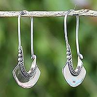 Sterling silver hoop earrings, 'Hollow Bell'